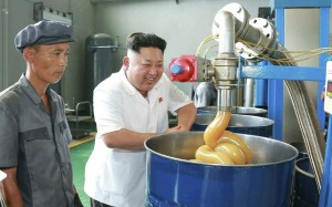 Kim Jong Un at a lubricant factory, yesterday