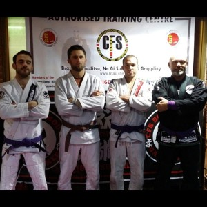 "Burlapsack (second from right) says he'll ""make him eat his purple belt"""